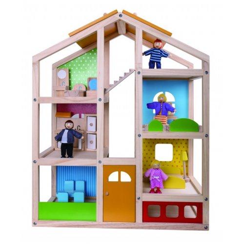 Tooky Toy Ξύλινο κουκλόσπιτo με ανθρωπάκια και αξεσουάρ