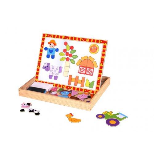 Tooky Toy Ξύλινος Μαγνητικός Πίνακας Φάρμα Διπλής όψης