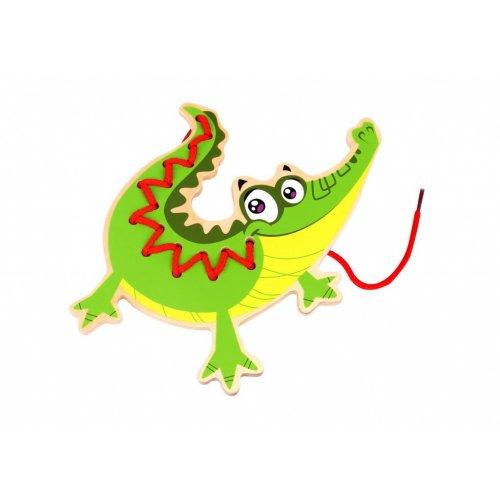 Tooky Toy Ξύλινος κροκόδειλος με κορδόνι