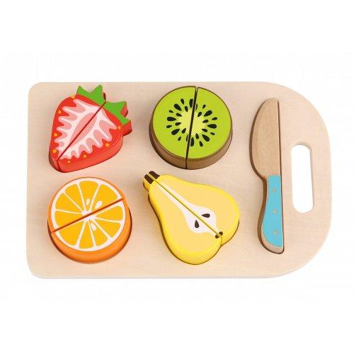 Tooky Toy Ξύλινα σφηνώματα σε δίσκο κοπής  Φρούτα