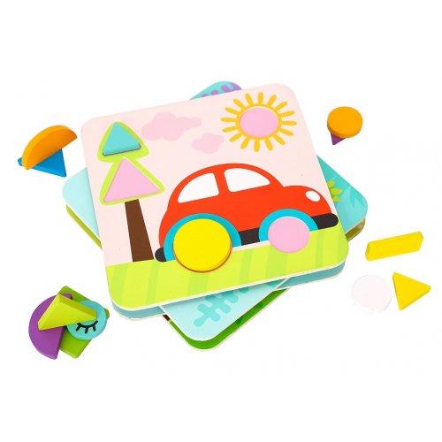 Tooky Toy Ξύλινο Παζλ Σχήματα 4 σε 1