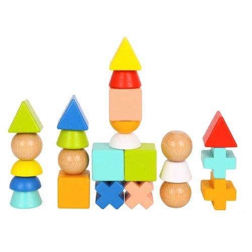Tooky Toy Ξύλινο Παιχνίδι Στοίβαξης με σχήματα & κάρτες