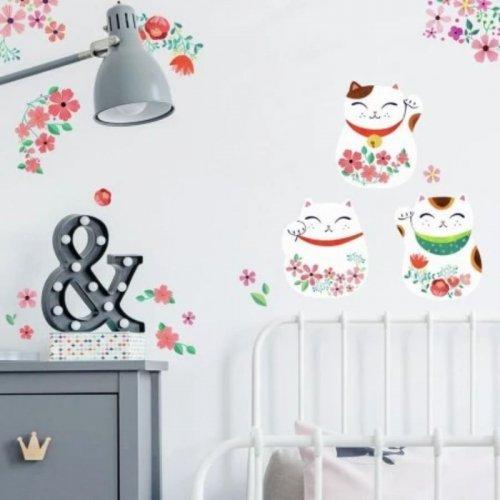 RoomMates Αυτοκόλλητα τοίχου Γατούλες Ιαπωνίας