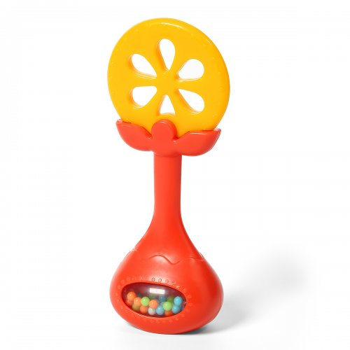 BabyOno Μασητικό με κουδουνίστρα Πορτοκάλι