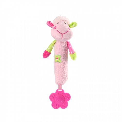 Babyono Μαλακό παιχνίδι με ήχο και μασητικό Προβατάκι Ροζ