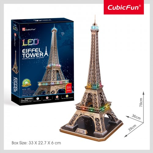 Cubic Fun 3D Παζλ Eiffel Tower με Φωτισμό Led 82 τεμ.