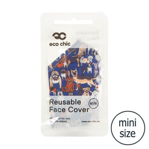 Eco Chic Teal Dogs Face Cover Mini