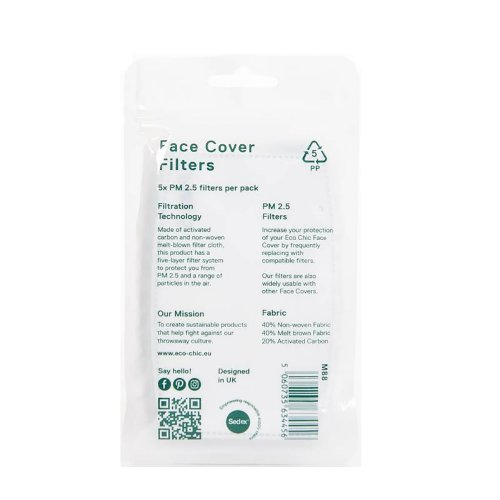 Eco Chic Face Cover 5 Filters Set 12×8 cm