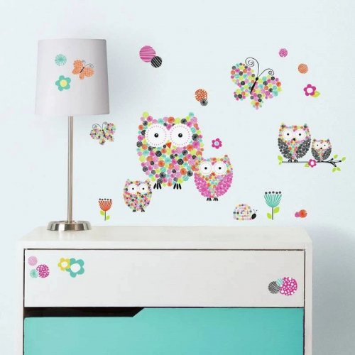 RoomMates Αυτοκόλλητα τοίχου Κουκουβάγιες-πεταλούδες