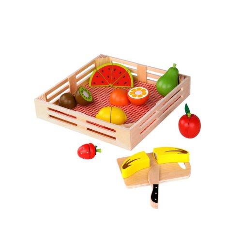 Tooky Toy Ξύλινα φρούτα με ξύλο κοπής και δίσκο